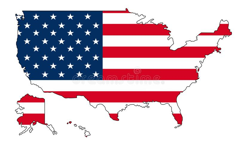 η Αμερική δηλώνει ενωμένο Χάρτης του διανυσματικού illustartion της Αμερικής ΗΠΑ απεικόνιση αποθεμάτων