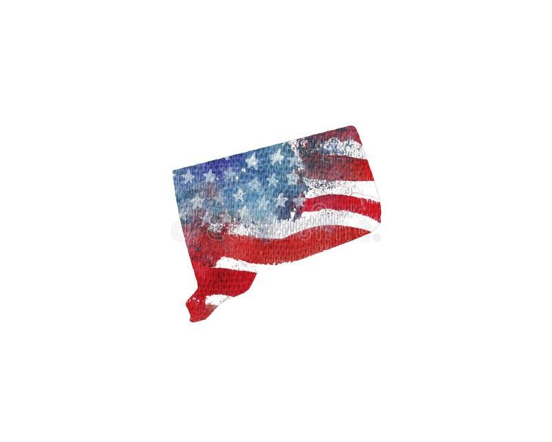 η Αμερική δηλώνει ενωμένο Σύσταση Watercolor της αμερικανικής σημαίας Γ διανυσματική απεικόνιση
