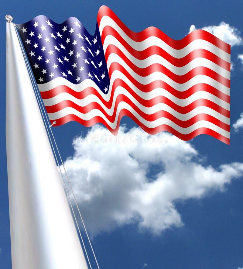 Η αμερικανική σημαία που κυματίζει μέσα με κόκκινους και άσπρους φραγμούς του και πενήντα αστέρια τη σημαία των Ηνωμένων Πολιτειώ ελεύθερη απεικόνιση δικαιώματος