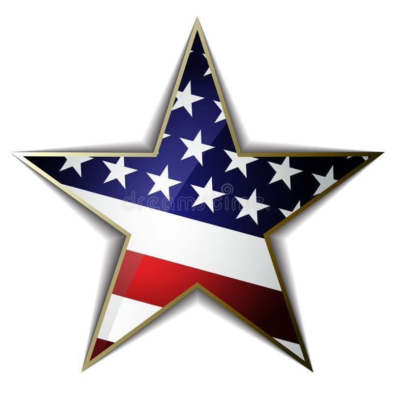 Η αμερικανική σημαία ως διαμορφωμένο αστέρι σύμβολο gingham λουλουδιών σημείων eps10 συνόρων να γεμίσει βελονιές τρία διάνυσμα διανυσματική απεικόνιση