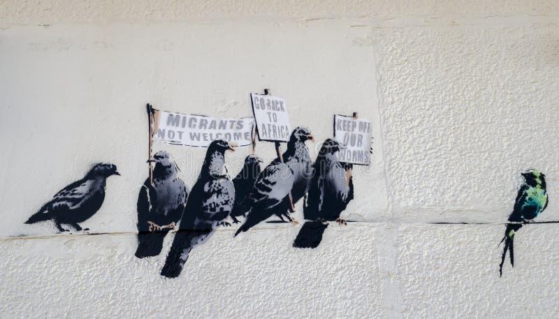 Η αμφισβητούμενη εργασία τέχνης Banksy καλλιτεχνών στοκ εικόνα