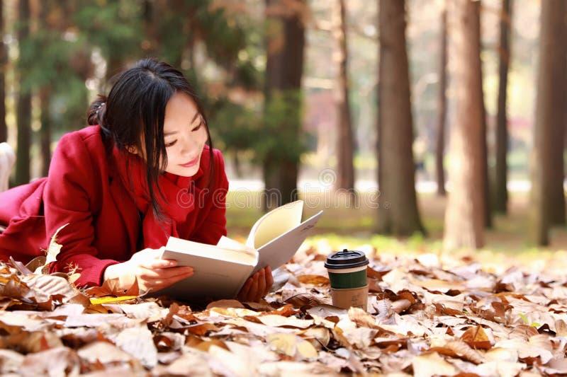 Η ανάγνωση στη φύση είναι το χόμπι μου, το κορίτσι διάβασε ένα βιβλίο στα πεσμένα φύλλα στοκ εικόνα