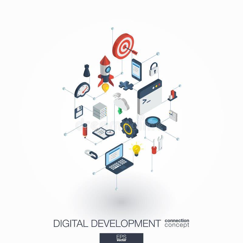 Η ανάπτυξη ενσωμάτωσε τα τρισδιάστατα εικονίδια Ιστού Isometric έννοια ψηφιακών δικτύων απεικόνιση αποθεμάτων