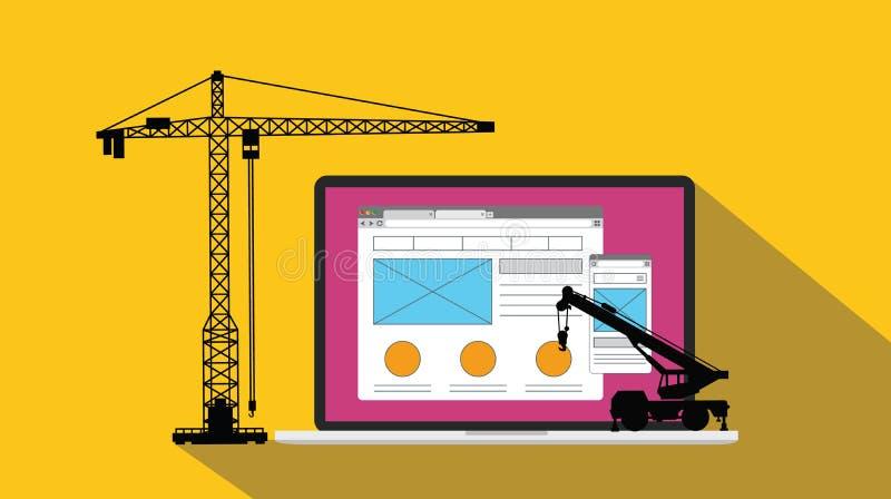 Η ανάπτυξη ιστοχώρου σχεδίου εμπειρίας χρηστών Ux apps και χτίζει με το γερανό και το lap-top διανυσματική απεικόνιση