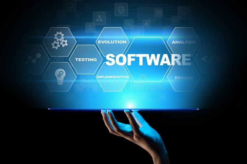 Η ανάπτυξη λογισμικού και η επιχείρηση επεξεργάζονται την αυτοματοποίηση, Διαδίκτυο και την έννοια τεχνολογίας στην εικονική οθόν απεικόνιση αποθεμάτων