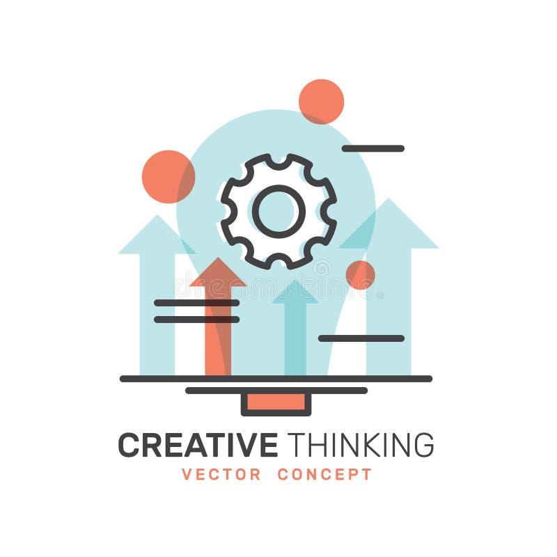 Η ανάπτυξη, παραγωγή ιδέας, δημιουργική σκέψη, έξυπνη λύση, σκέφτεται έξω από το κιβώτιο ελεύθερη απεικόνιση δικαιώματος