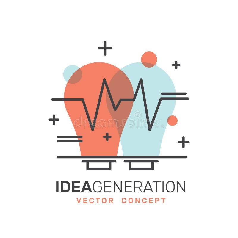 Η ανάπτυξη, παραγωγή ιδέας, δημιουργική σκέψη, έξυπνη λύση, σκέφτεται έξω από το κιβώτιο διανυσματική απεικόνιση