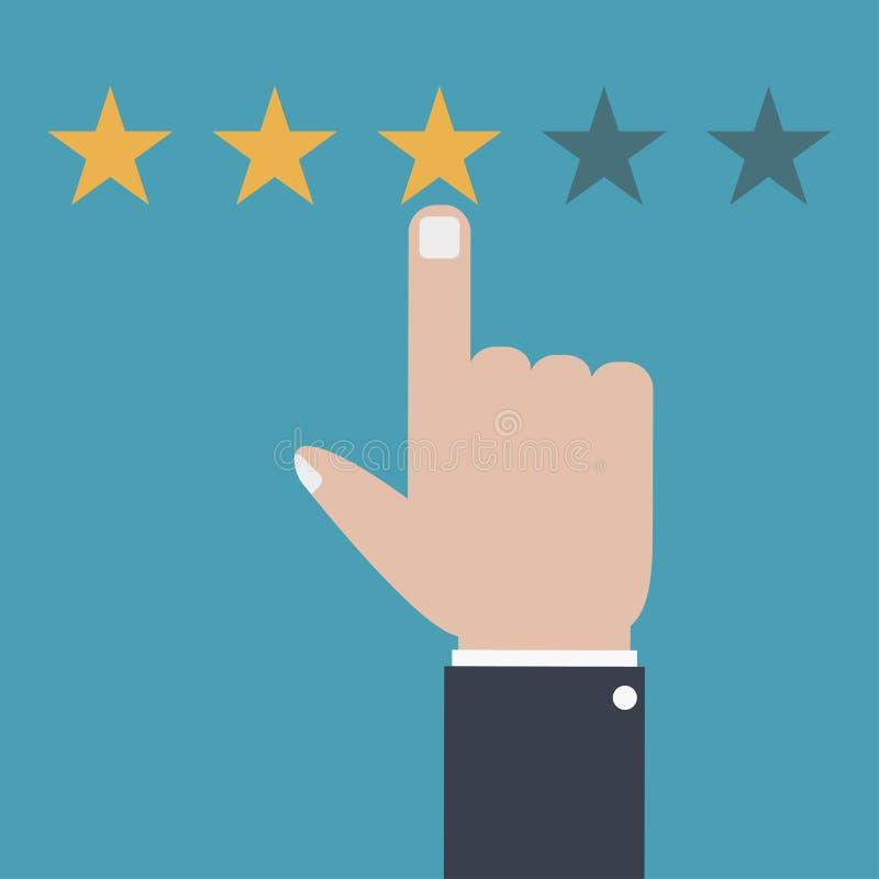 Η αναθεώρηση πελατών και ανατροφοδοτεί την έννοια Σύστημα εκτίμησης, ποιότητα εξυπηρέτησης επίσης corel σύρετε το διάνυσμα απεικό ελεύθερη απεικόνιση δικαιώματος