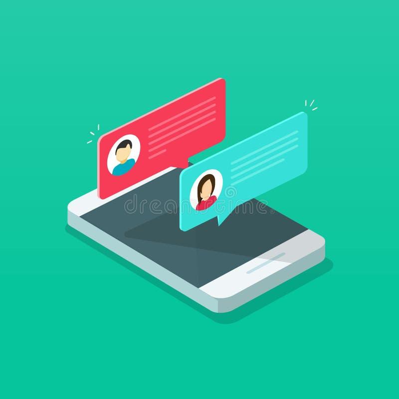 Η ανακοίνωση μηνυμάτων συνομιλίας στη διανυσματική απεικόνιση smartphone, επίπεδα isometric sms κινούμενων σχεδίων βράζει στην κι ελεύθερη απεικόνιση δικαιώματος