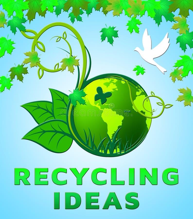 Η ανακύκλωση των ιδεών παρουσιάζει στα ανακύκλωσης σχέδια τρισδιάστατη απεικόνιση διανυσματική απεικόνιση