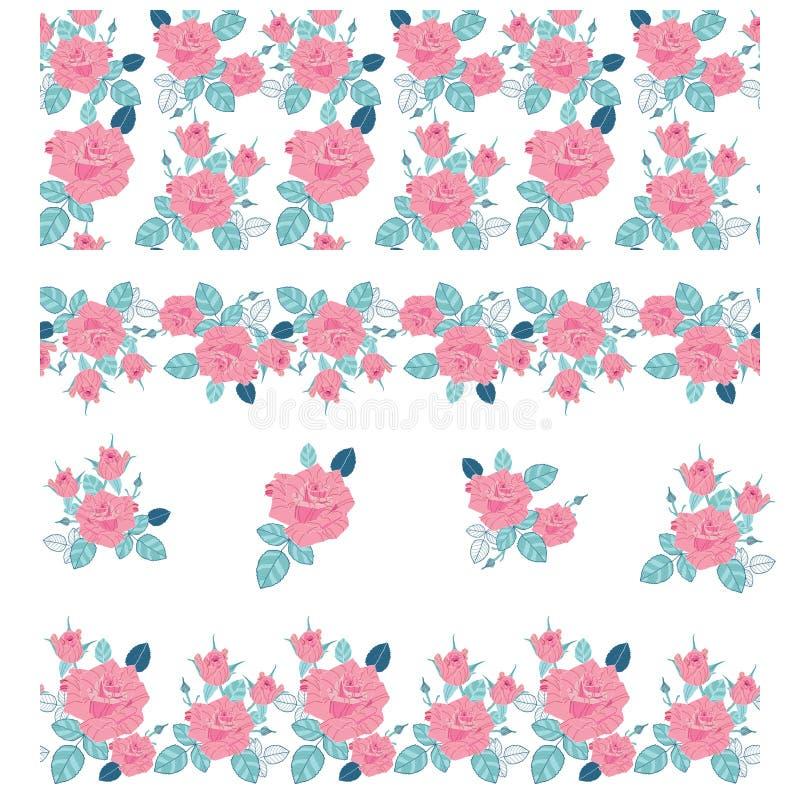 Η αναρρίχηση κλάδων ερυθρά αυξήθηκε λουλούδι με τα φύλλα και τους οφθαλμούς Τα στοιχεία μπορούν να χρησιμοποιηθούν ως βούρτσα τέχ απεικόνιση αποθεμάτων