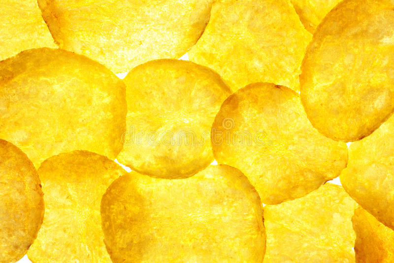 η ανασκόπηση πελεκά τη μακρο πατάτα πατατακιών στοκ εικόνες