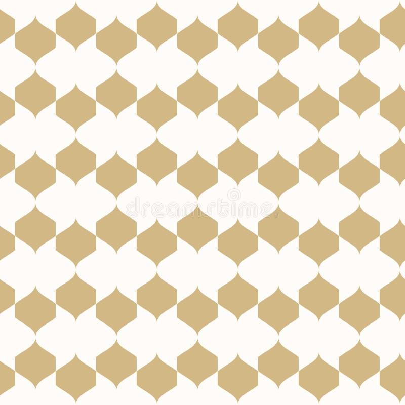 η ανασκόπηση περιβάλλει το πορτοκαλί διάνυσμα τετραγώνων διακοσμήσεων Χρυσό και άσπρο γεωμετρικό άνευ ραφής σχέδιο απεικόνιση αποθεμάτων