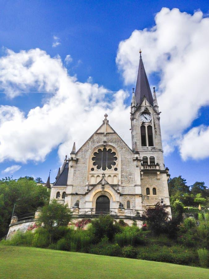 Η ανασχηματισμένη εκκλησία Pasquart το reformee du Pasquart Biel/το Bienne, Βέρνη, Ελβετία, Ευρώπη στοκ φωτογραφία