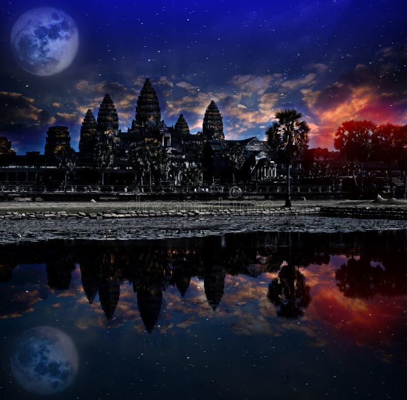 Η ανατολή Angkor wat, Siem συγκεντρώνει, Καμπότζη, εγγράφηκε στον κατάλογο παγκόσμιων κληρονομιών της ΟΥΝΕΣΚΟ το 1992 Στοιχεία αυ στοκ φωτογραφίες