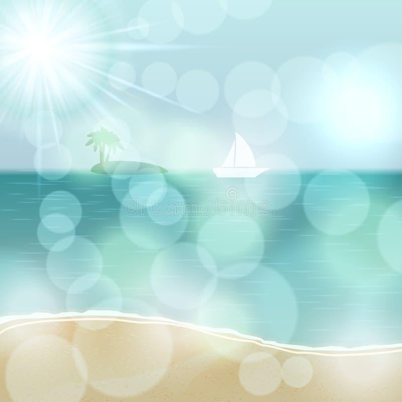 Η αναδρομική θερινή απεικόνιση με τον ωκεανό, γιοτ και είναι διανυσματική απεικόνιση