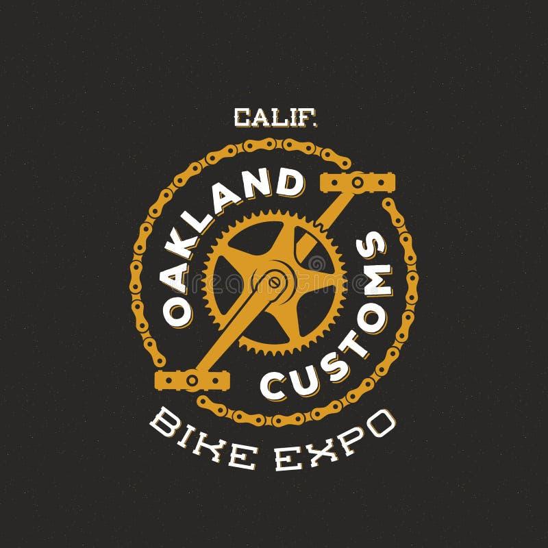 Η αναδρομική διανυσματική συνήθεια ποδηλάτων παρουσιάζει την ετικέτα ή λογότυπο EXPO διανυσματική απεικόνιση