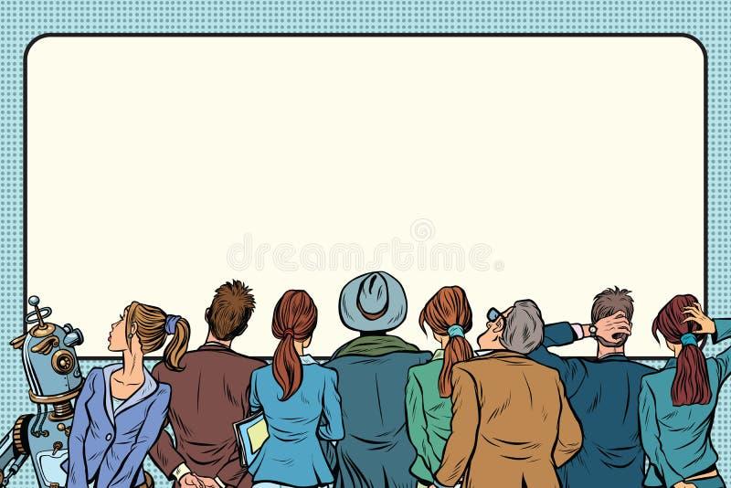 Η αναδρομική ομάδα ανθρώπων προσέχει στην ασημένια οθόνη απεικόνιση αποθεμάτων