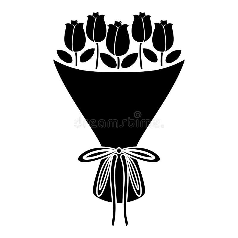 Η ανθοδέσμη της ανθοδέσμης λουλουδιών των τριαντάφυλλων παρουσιάζει την ανθοδέσμη έννοιας της ροδαλής λουλουδιών εικονιδίων μαύρη απεικόνιση αποθεμάτων