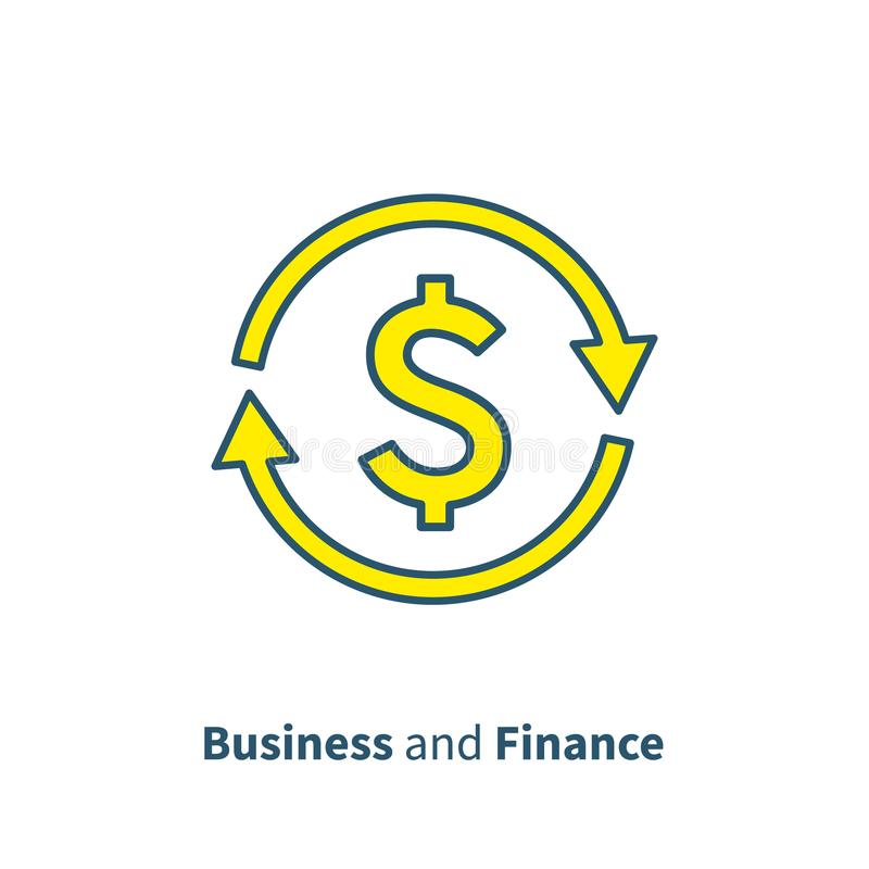 Η ανταλλαγή νομίσματος, εξαργυρώνει το πίσω, γρήγορο δάνειο, ασφαλιστική έννοια, διαχείριση κεφαλαίων, επιχειρησιακή λύση, υπηρεσ ελεύθερη απεικόνιση δικαιώματος