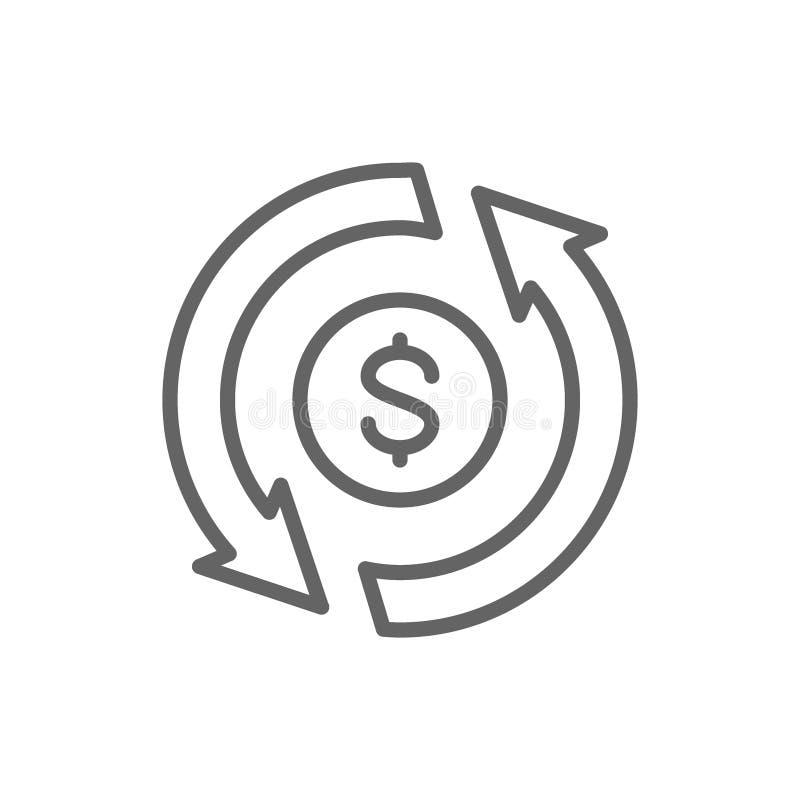 Η ανταλλαγή νομίσματος, μεταφορά χρημάτων, μετατρέπει, γρήγορο δάνειο, εικονίδιο γραμμών επιστροφής ποσού ελεύθερη απεικόνιση δικαιώματος