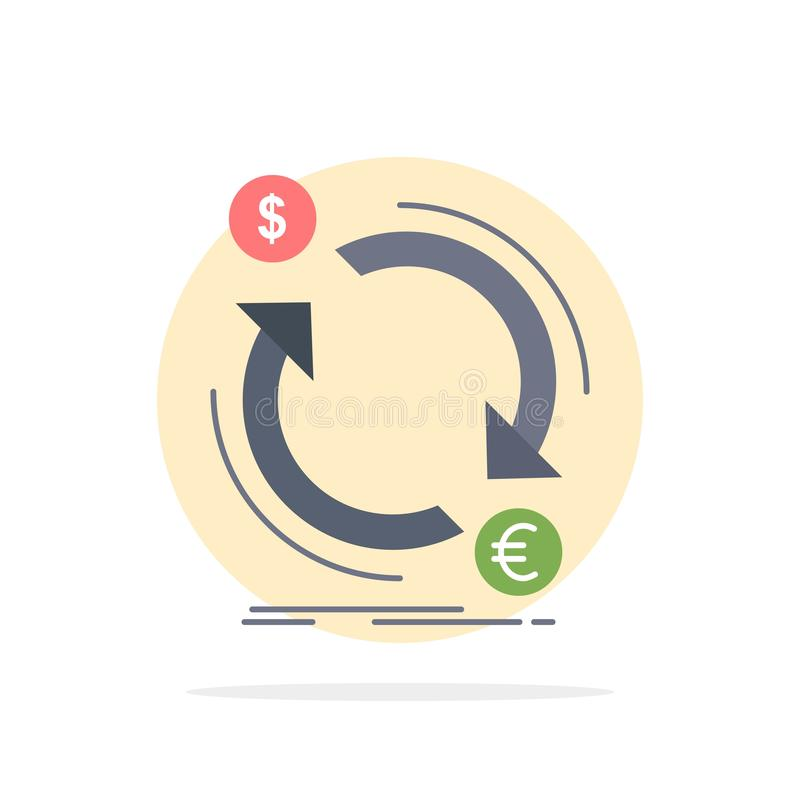 η ανταλλαγή, νόμισμα, χρηματοδότηση, χρήματα, μετατρέπει το επίπεδο διάνυσμα εικονιδίων χρώματος απεικόνιση αποθεμάτων