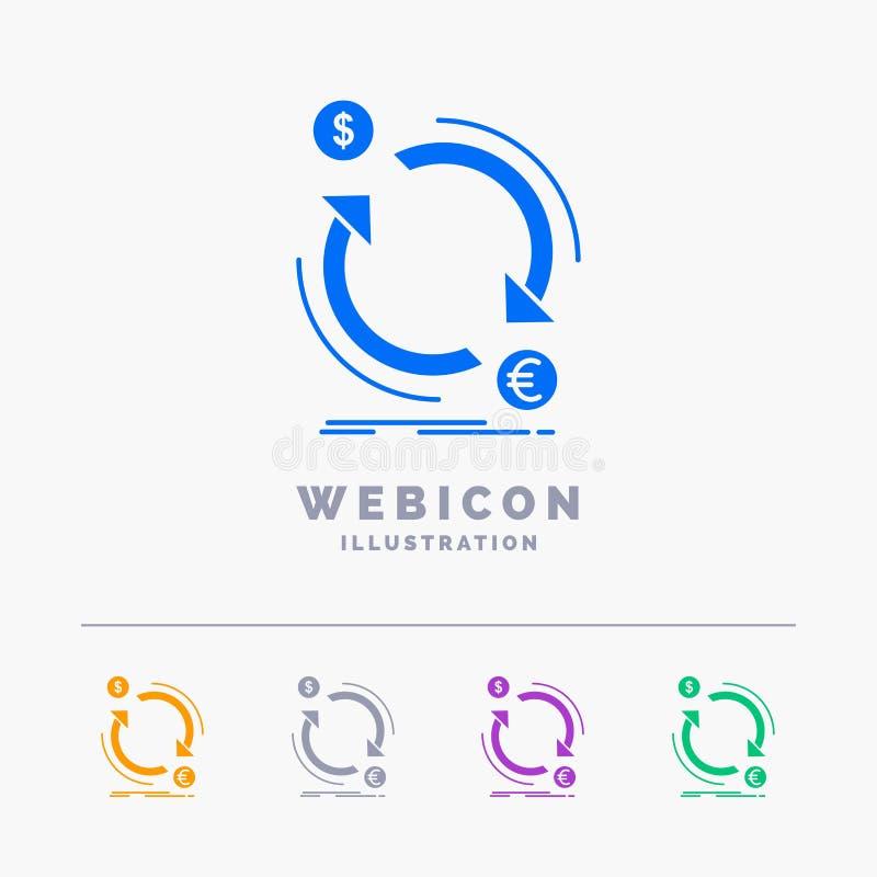 η ανταλλαγή, νόμισμα, χρηματοδότηση, χρήματα, το πρότυπο εικονιδίων Ιστού Glyph 5 χρώματος που απομονώνεται μετατρέπει στο λευκό  ελεύθερη απεικόνιση δικαιώματος