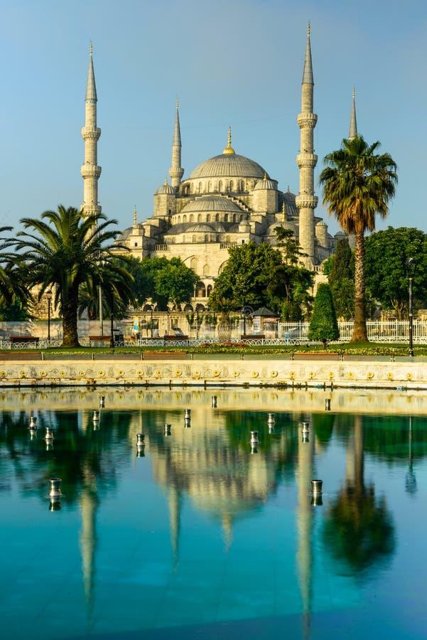 Η αντανάκλαση του μπλε μουσουλμανικού τεμένους (μουσουλμανικό τέμενος Sultanahmet) στοκ φωτογραφία