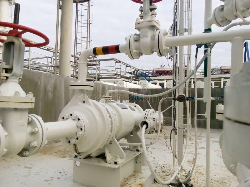 Η αντλία για την άντληση των καυτών προϊόντων του καθαρισμού πετρελαίου στοκ εικόνα με δικαίωμα ελεύθερης χρήσης