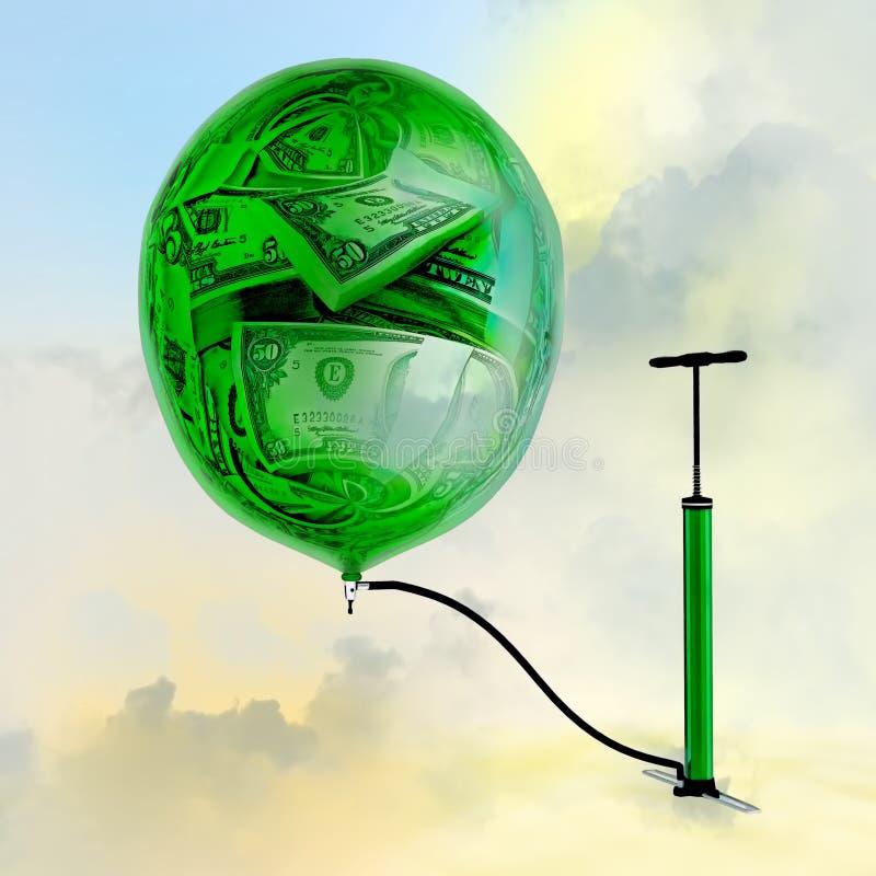 Η αντλία, το μπαλόνι με την εικόνα των χρημάτων απεικόνιση αποθεμάτων