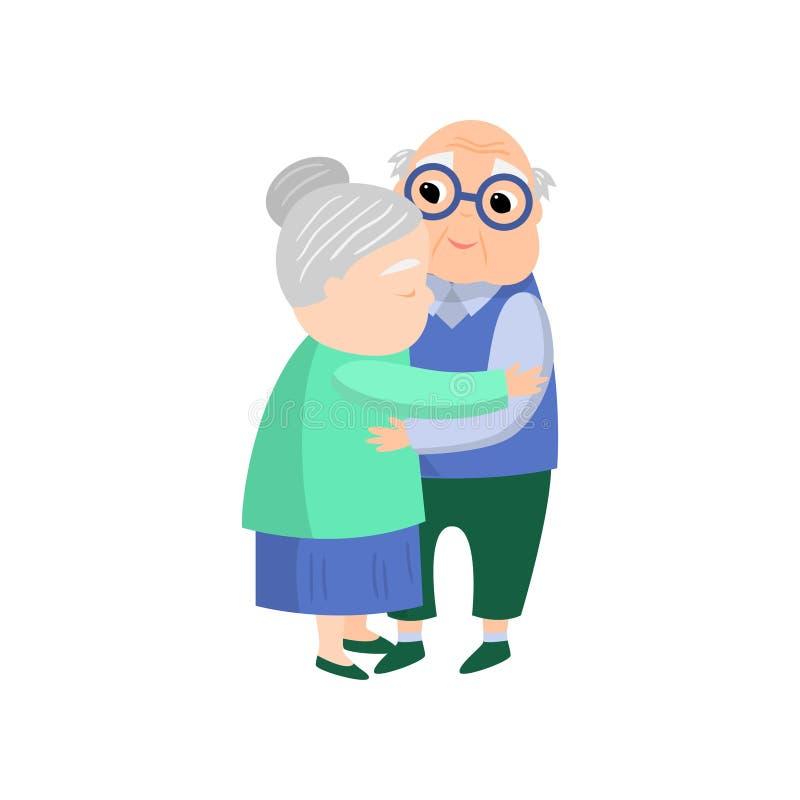 Η ανώτερη ηλικιωμένη γυναίκα δίνει ένα καλό αγκάλιασμα στον ανώτερο σύζυγο διανυσματική απεικόνιση