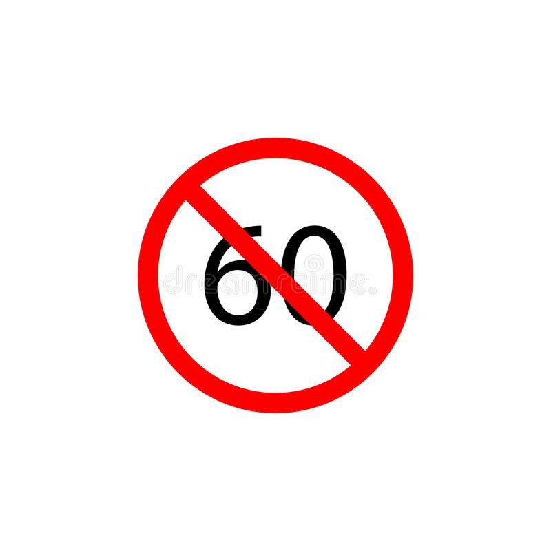 Η απαγορευμένη ταχύτητα 60 εικονίδιο στο άσπρο υπόβαθρο μπορεί να χρησιμοποιηθεί για τον Ιστό, λογότυπο, κινητό app, UI UX απεικόνιση αποθεμάτων
