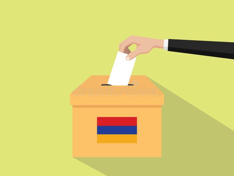Η απεικόνιση έννοιας εκλογής ψηφοφορίας της Αρμενίας με το χέρι ψηφοφόρων ανθρώπων δίνει το ένθετο ψηφοφοριών στην εκλογή κιβωτίω διανυσματική απεικόνιση