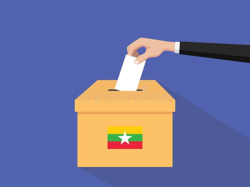 Η απεικόνιση έννοιας εκλογής ψηφοφορίας της Βιρμανίας με το χέρι ψηφοφόρων ανθρώπων δίνει το ένθετο ψηφοφοριών στην εκλογή κιβωτί διανυσματική απεικόνιση