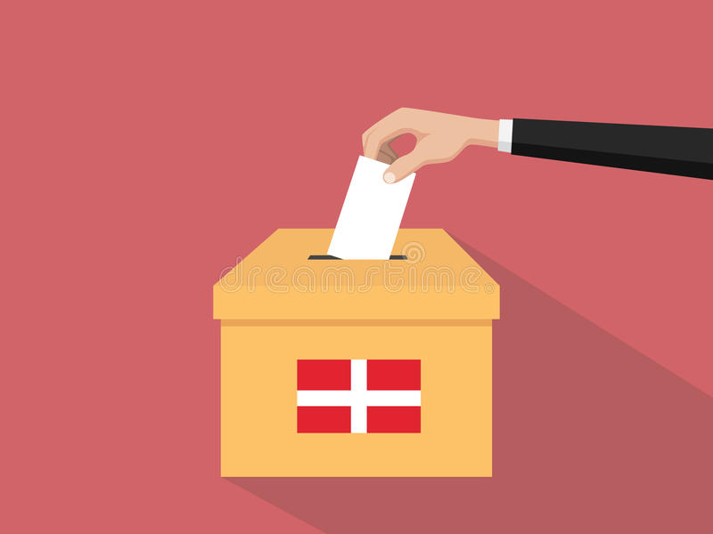 Η απεικόνιση έννοιας εκλογής ψηφοφορίας της Δανίας με το χέρι ψηφοφόρων ανθρώπων δίνει το ένθετο ψηφοφοριών στην εκλογή κιβωτίων  απεικόνιση αποθεμάτων