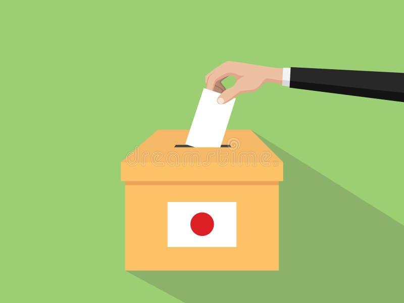 Η απεικόνιση έννοιας εκλογής ψηφοφορίας της Ιαπωνίας με το χέρι ψηφοφόρων ανθρώπων δίνει το ένθετο ψηφοφοριών στην εκλογή κιβωτίω ελεύθερη απεικόνιση δικαιώματος