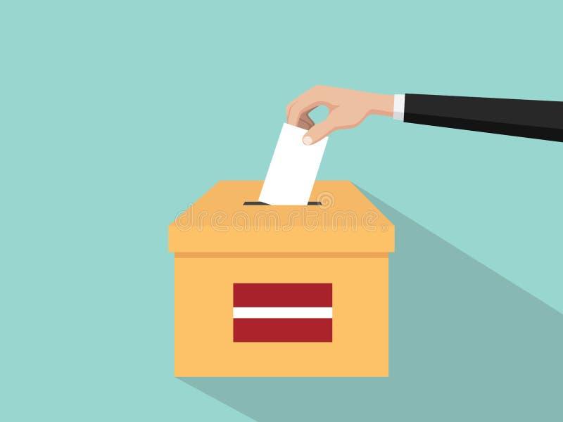Η απεικόνιση έννοιας εκλογής ψηφοφορίας της Λετονίας με το χέρι ψηφοφόρων ανθρώπων δίνει το ένθετο ψηφοφοριών στην εκλογή κιβωτίω ελεύθερη απεικόνιση δικαιώματος
