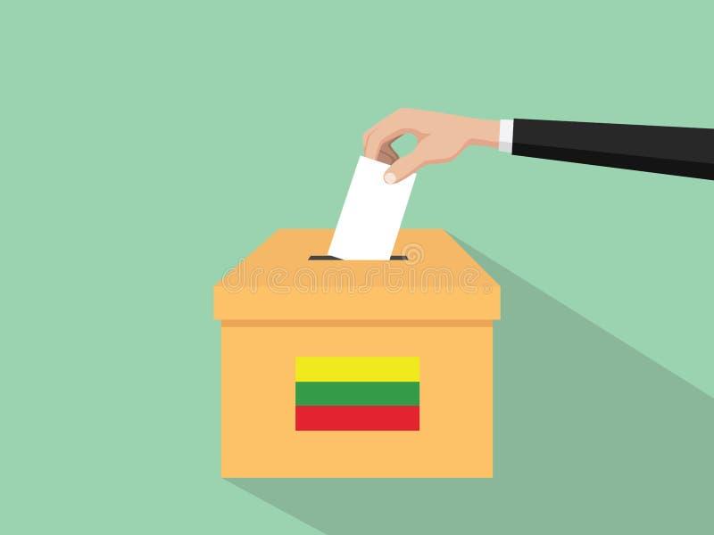 Η απεικόνιση έννοιας εκλογής ψηφοφορίας της Λιθουανίας με το χέρι ψηφοφόρων ανθρώπων δίνει το ένθετο ψηφοφοριών στην εκλογή κιβωτ διανυσματική απεικόνιση