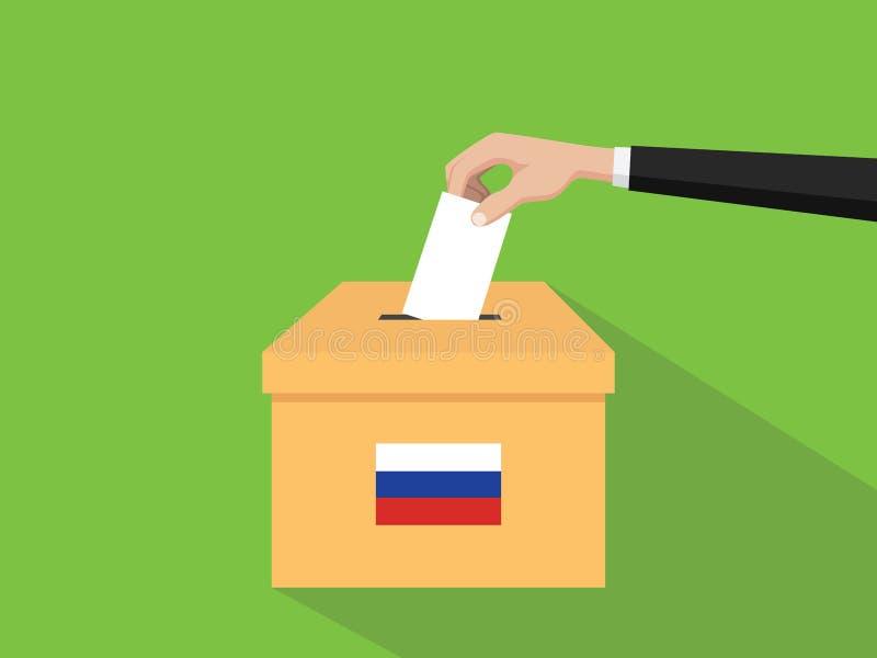 Η απεικόνιση έννοιας εκλογής ψηφοφορίας της Ρωσίας με το χέρι ψηφοφόρων ανθρώπων δίνει το ένθετο ψηφοφοριών στην εκλογή κιβωτίων  διανυσματική απεικόνιση