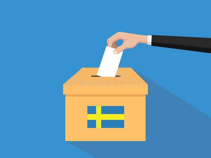 Η απεικόνιση έννοιας εκλογής ψηφοφορίας της Σουηδίας με το χέρι ψηφοφόρων ανθρώπων δίνει το ένθετο ψηφοφοριών στην εκλογή κιβωτίω ελεύθερη απεικόνιση δικαιώματος
