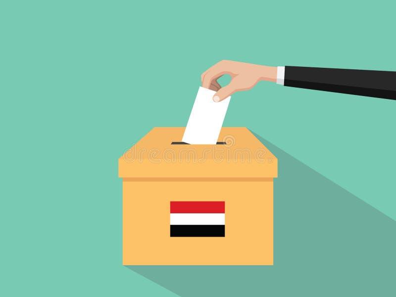 Η απεικόνιση έννοιας εκλογής ψηφοφορίας της Υεμένης με το χέρι ψηφοφόρων ανθρώπων δίνει το ένθετο ψηφοφοριών στην εκλογή κιβωτίων διανυσματική απεικόνιση