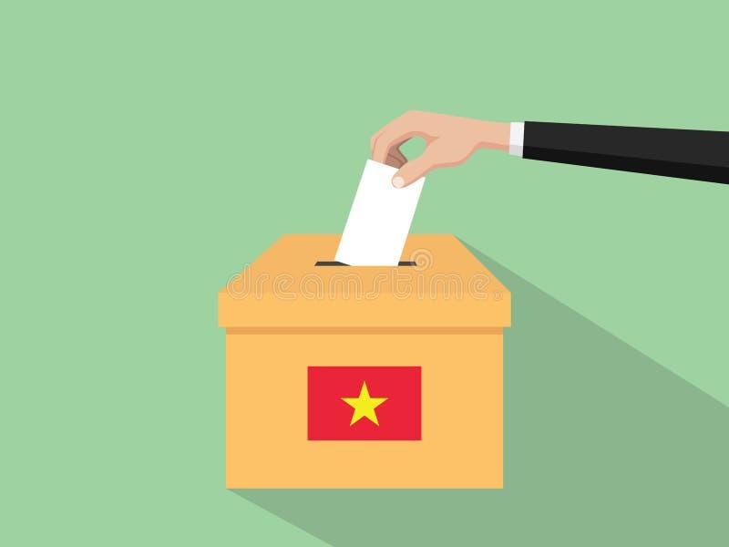 Η απεικόνιση έννοιας εκλογής ψηφοφορίας του Βιετνάμ με το χέρι ψηφοφόρων ανθρώπων δίνει το ένθετο ψηφοφοριών στην εκλογή κιβωτίων ελεύθερη απεικόνιση δικαιώματος