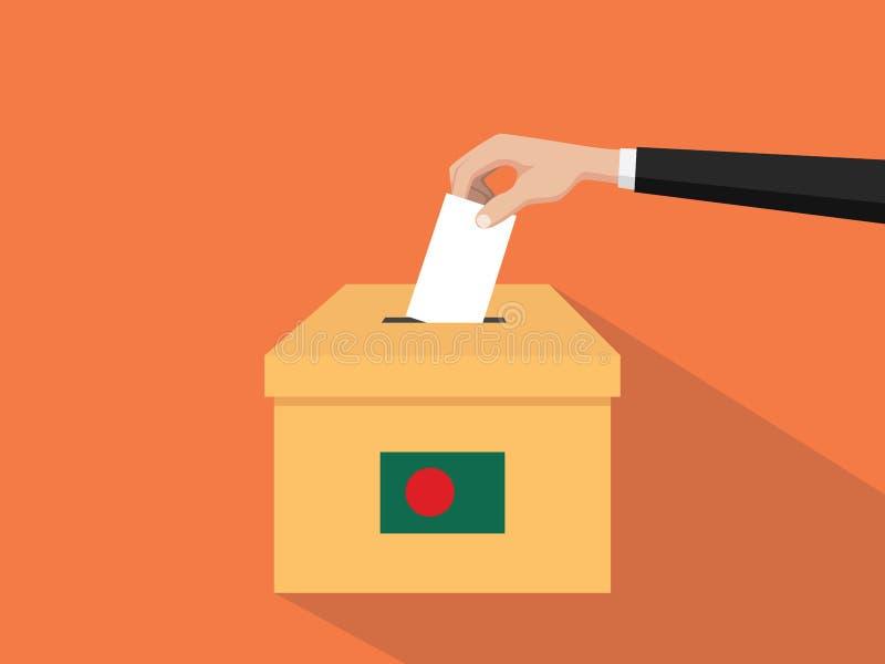Η απεικόνιση έννοιας εκλογής ψηφοφορίας του Μπανγκλαντές με το χέρι ψηφοφόρων ανθρώπων δίνει το ένθετο ψηφοφοριών στην εκλογή κιβ ελεύθερη απεικόνιση δικαιώματος
