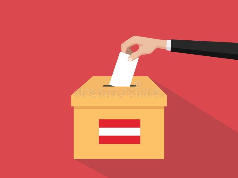 Η απεικόνιση έννοιας ψηφοφορίας εκλογής της Αυστρίας με το χέρι ψηφοφόρων ανθρώπων δίνει το ένθετο ψηφοφοριών στην εκλογή κιβωτίω διανυσματική απεικόνιση