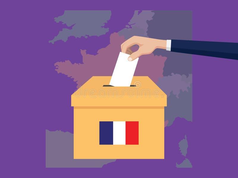 Η απεικόνιση έννοιας ψηφοφορίας εκλογής της Γαλλίας με το χέρι ψηφοφόρων ανθρώπων δίνει το ένθετο ψηφοφοριών στην εκλογή κιβωτίων απεικόνιση αποθεμάτων
