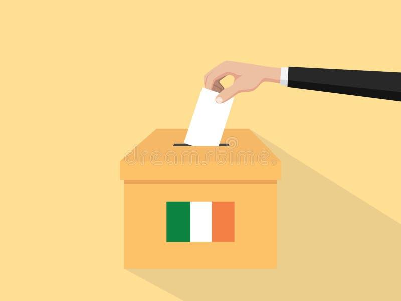 Η απεικόνιση έννοιας ψηφοφορίας εκλογής της Ιρλανδίας με το χέρι ψηφοφόρων ανθρώπων δίνει το ένθετο ψηφοφοριών στην εκλογή κιβωτί απεικόνιση αποθεμάτων