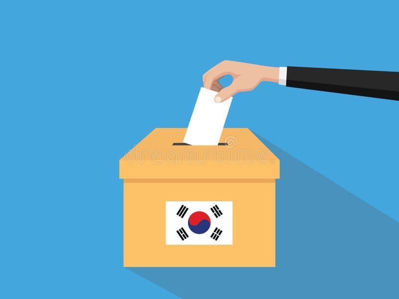 Η απεικόνιση έννοιας ψηφοφορίας εκλογής της Κορέας με το χέρι ψηφοφόρων ανθρώπων δίνει το ένθετο ψηφοφοριών στην εκλογή κιβωτίων  ελεύθερη απεικόνιση δικαιώματος