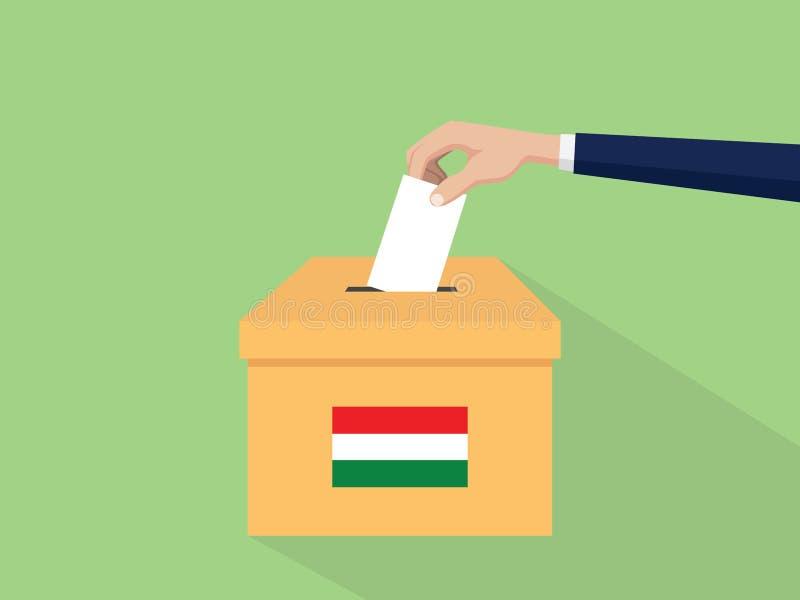 Η απεικόνιση έννοιας ψηφοφορίας εκλογής της Ουγγαρίας με το χέρι ψηφοφόρων ανθρώπων δίνει το ένθετο ψηφοφοριών στην εκλογή κιβωτί απεικόνιση αποθεμάτων