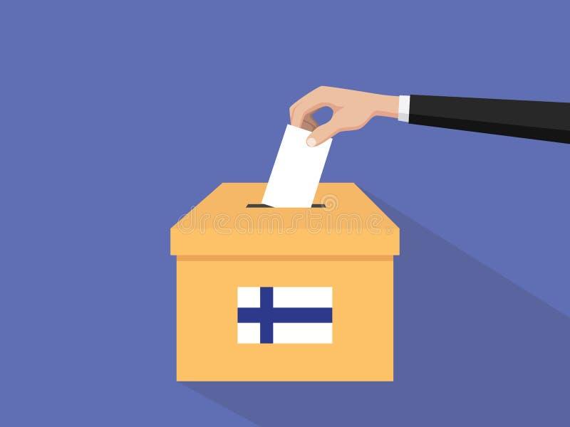 Η απεικόνιση έννοιας ψηφοφορίας εκλογής της Φινλανδίας με το χέρι ψηφοφόρων ανθρώπων δίνει το ένθετο ψηφοφοριών στην εκλογή κιβωτ απεικόνιση αποθεμάτων
