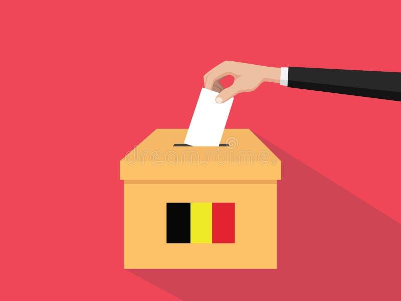 Η απεικόνιση έννοιας ψηφοφορίας εκλογής του Βελγίου με το χέρι ψηφοφόρων ανθρώπων δίνει το ένθετο ψηφοφοριών στην εκλογή κιβωτίων διανυσματική απεικόνιση